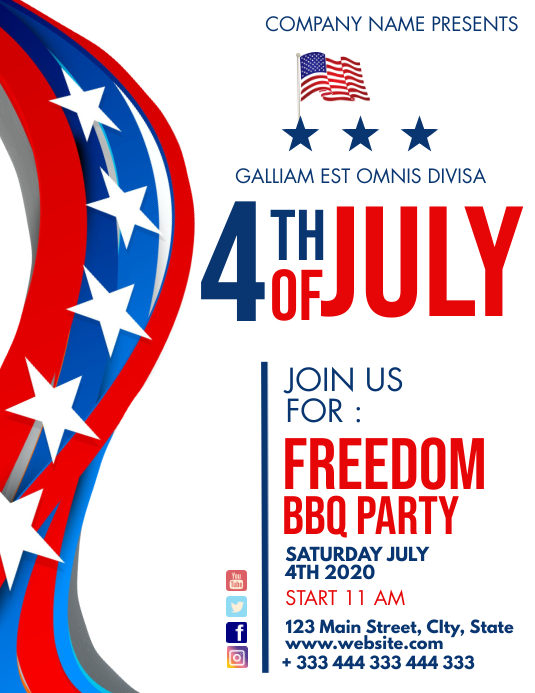 4th of july barbecue party flyer advertisemen template