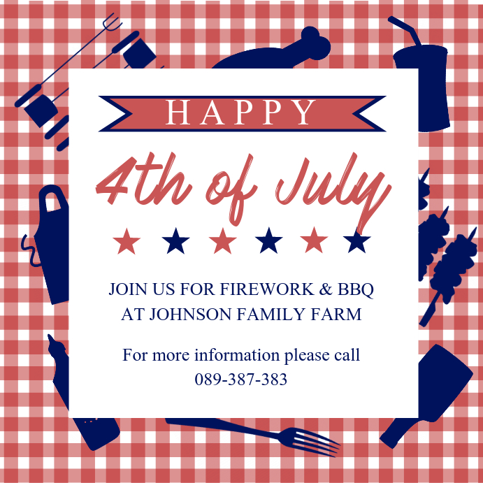 4th of July BBQ and Fireworks Invite Instagram Post