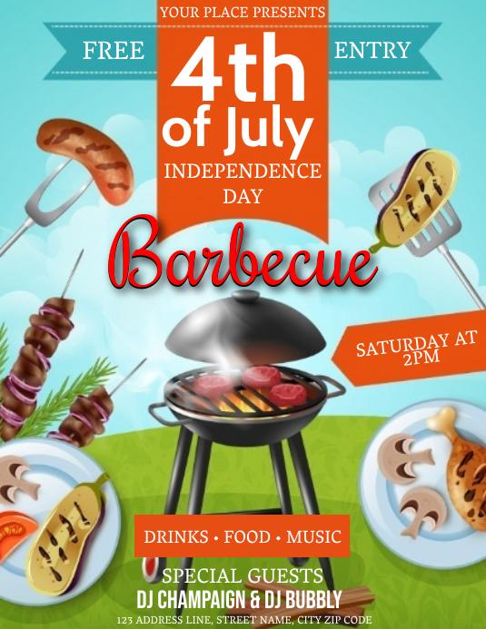 4TH OF JULY BBQ CELEBRATION Event Template 传单(美国信函)