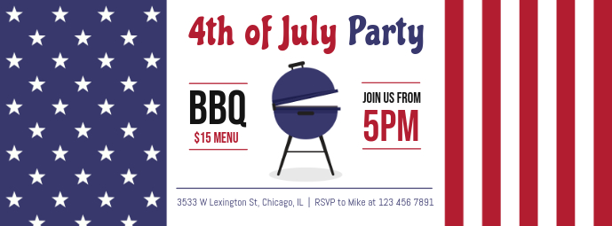 4th of July BBQ Party Facebook Cover Template
