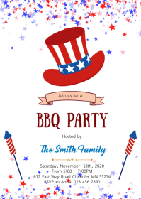 4th of July bbq party invitation A6 template