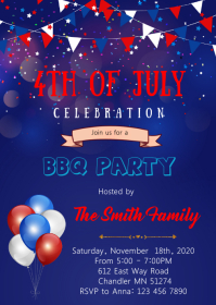 4th of July BBQ theme invitation