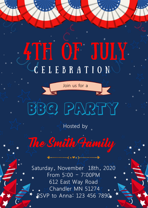 4th of July BBQ theme invitation A6 template