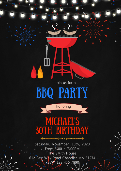 4th of july birthday party invitation A6 template