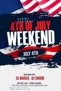 4th of July Celebration Flyer แบนเนอร์ 4' × 6' template
