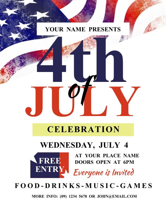 4th of July Celebration Flyer Folheto (US Letter) template