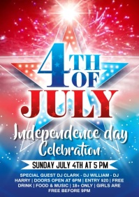 4th of july celebration video poster A4 template