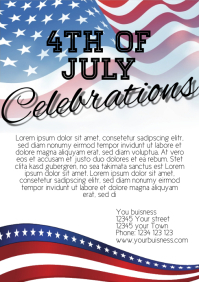 4th of july celebrations flyer template A4