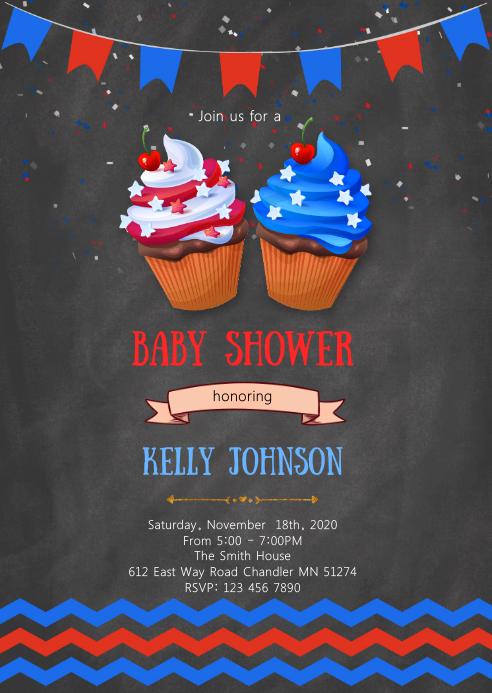 4th of July cupcake invitation