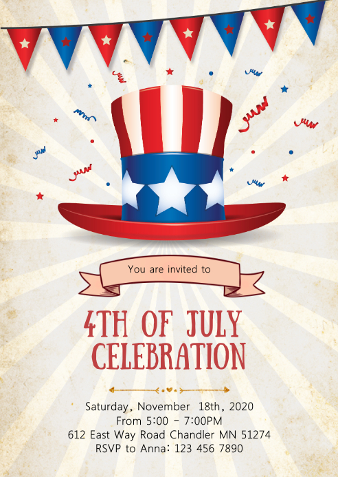 4th of July day party invitation A6 template