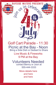 4th of July Event Fancy Script Invitation Poster template