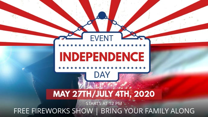 Sjabloon 4th Of July Event Invitation Facebook Cover Video Template