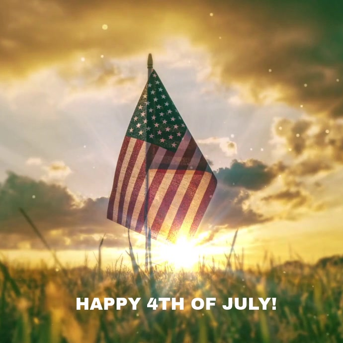 4th of July flag video Quadrat (1:1) template