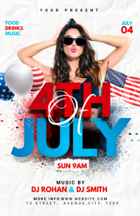 4th of July flyer Half Page Wide template