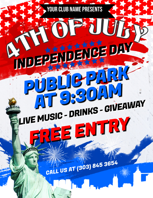 4th of July Flyer Pamflet (Letter AS) template