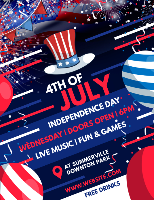 4th of July Flyer Ulotka (US Letter) template