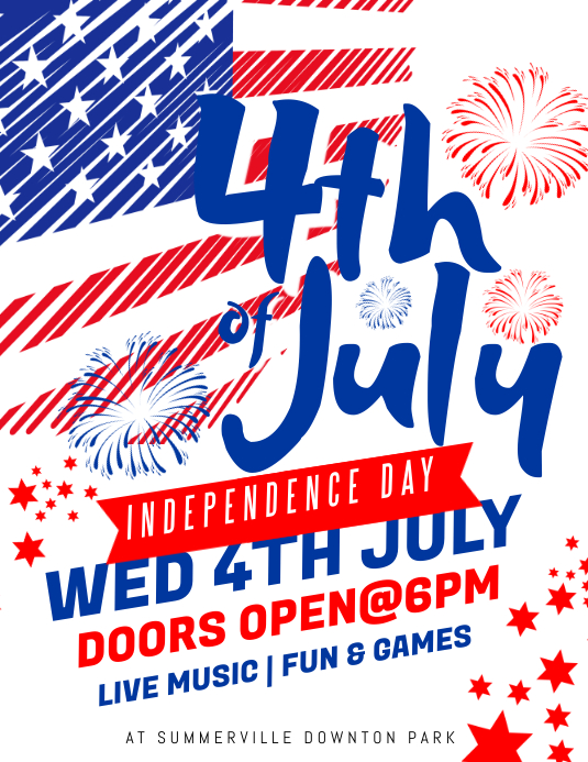 4th of July Flyer 传单(美国信函) template