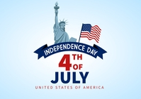 4th of July independence day banner Postkarte template