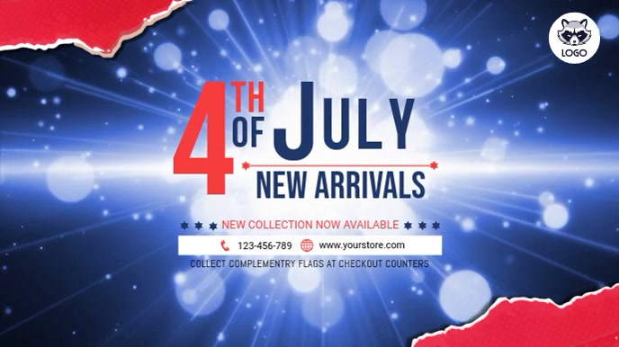 4th of July New Arrivals Video Template Digitalt display (16:9)