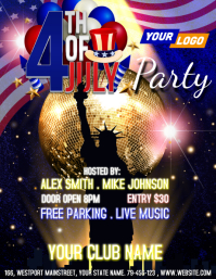 4th of July Party Flyer Folheto (US Letter) template