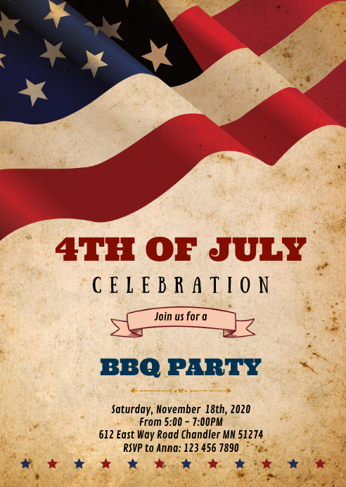 4th of July party invitation A6 template