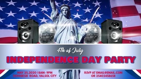4th of July Party Invitation Facebook Cover Video template