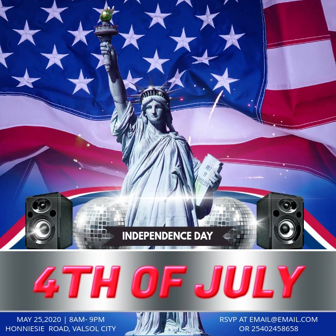 4th of July Party Invitation Instagram Video Template Persegi (1:1)
