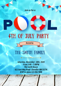 4th of July pool birthday party invitation A6 template
