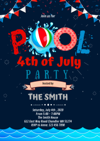 4th of July pool party invitation A6 template