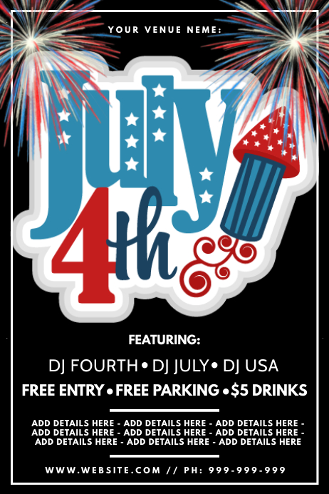 4th Of July Poster Cartaz template
