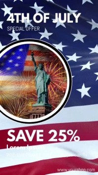 4th of july promotion sale discount ad Instagram Story template