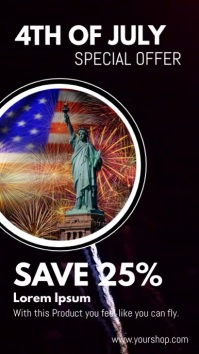 4th of july promotion sale discount ad História do Instagram template