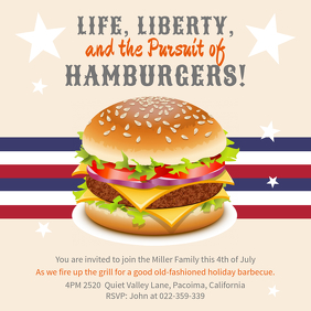 4th of July Restaurant BBQ Event Invitation Instagram Post