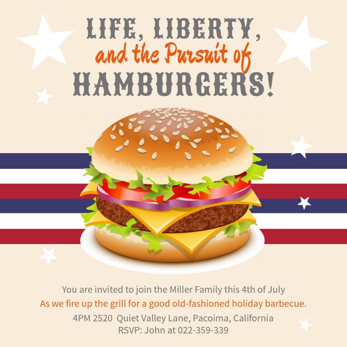4th of July Restaurant BBQ Event Invitation Instagram Post