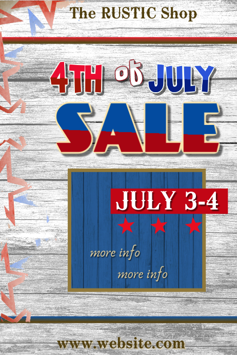 4th of July Sale Poster Póster template