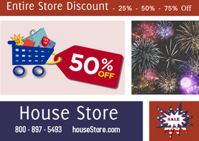 4th of July Sale/ USA/ Celebration postcard template