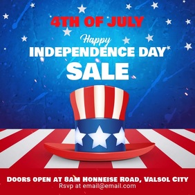 4th of July Sale Video Instagram Template Vierkant (1:1)