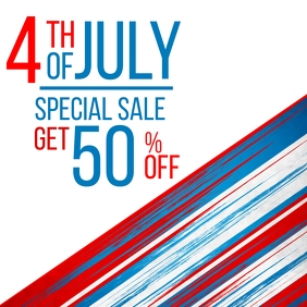 4th of july special sales up to 50% off desig Instagram Post template