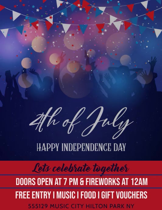 4th of July Template ใบปลิว (US Letter)