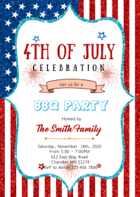 4th of july theme invitation A6 template
