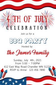 4th of july theme invitation Plakat template
