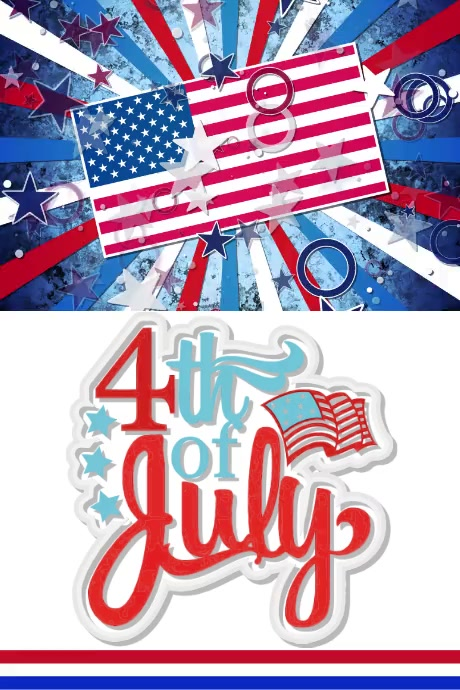 4th of July video Poster template