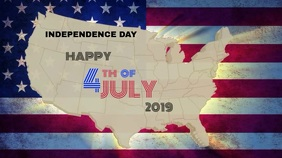 4th of July video template Digital Display (16:9)