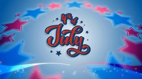 4th of July video template Ekran reklamowy (16:9)