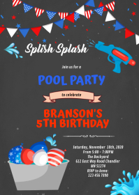 4th of July water balloon party A6 template