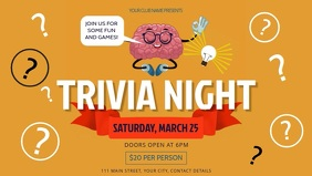 Yellow Trivia Night Facebook Cover Video template