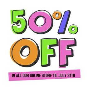 50% off retail instagram post video sale ad