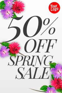 50% off spring sale poster with flowers