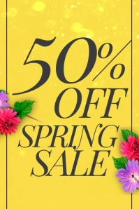 50% off spring sale video poster with flowers Cartaz template