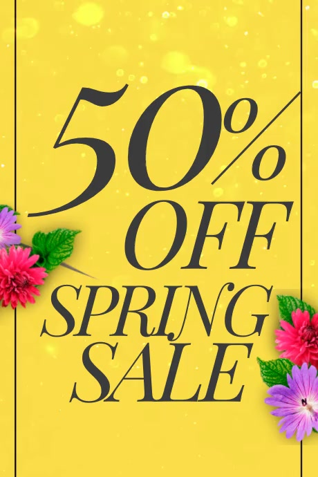50% off spring sale video poster with flowers Affiche template